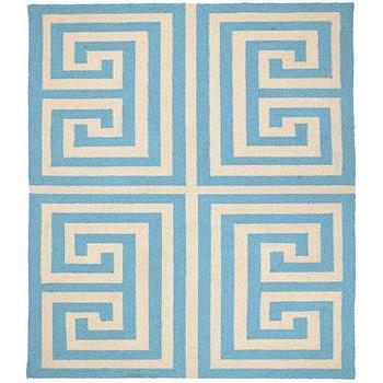 Rugs - Trina Turk Rug Hook Greek Key Blue - trina turk, blue, greek key, rug