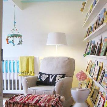 Elizabeth Sullivan Design - nurseries - gender neutral nursery, turquoise crib bumper, turquoise blue crib bumper, blue and yellow nursery, turquoise and yellow nursery, turquoise blue and yellow nursery, yellow throw, yellow throw blanket, blabla mobile, crib mobile, nursery book ledge, book ledge, stacked book ledge, striped ceiling, nursery with striped ceiling, striped ceiling in nursery, white and turquoise striped ceiling, Big Jungle Mobile,