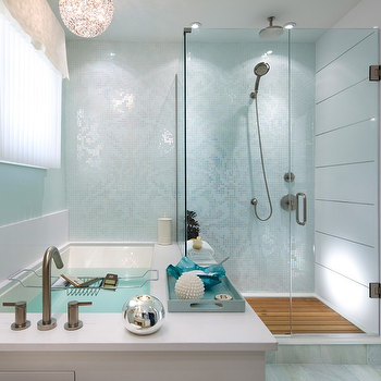 Brandon Barre Photography - bathrooms - damask tiles, blue damask tiles, damask bathroom tiles, candice olson bathroom, spa like bathroom, teak shower floor, spa like bathtub,