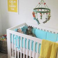 Elizabeth Sullivan Design - nurseries: gender neutral, white, modern, crib, turquoise, blue, crib bedding, yellow, tassle, throw, jute, rug, yellow, keep calm &amp; carry on, print,