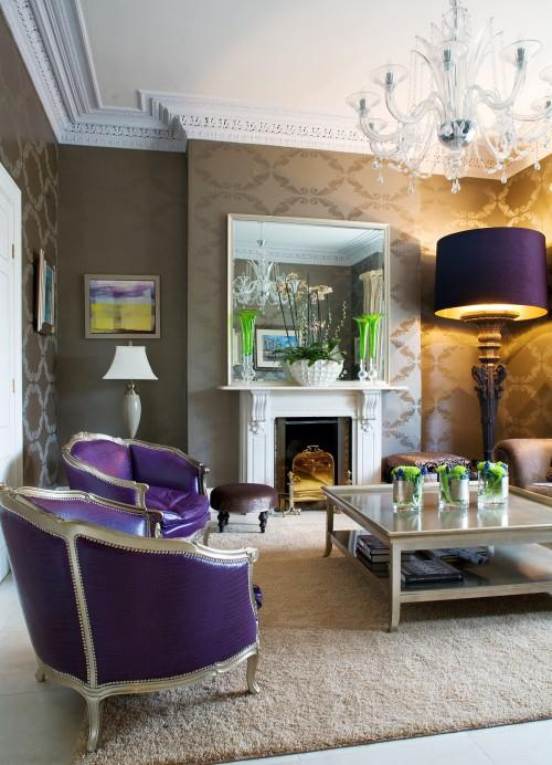 Kevin Kelly Interiors - living rooms - purple chairs, french chairs, purple french chairs, purple leather chairs, taupe wallpaper, taupe coffee table, purple lamp shade, ornate crown molding, crown molding millwork,