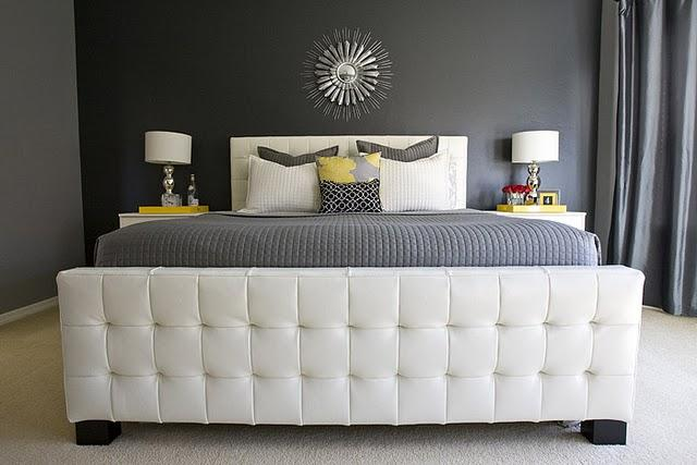 4 Men 1 Lady - bedrooms - Behr - Evening Hush - Z Gallerie East St. Bed, leather tufted headboard, white leather headboard, white leather tufted headboard, gray quilt, gray bedding, yellow accents, yellow room accents, gary shams,