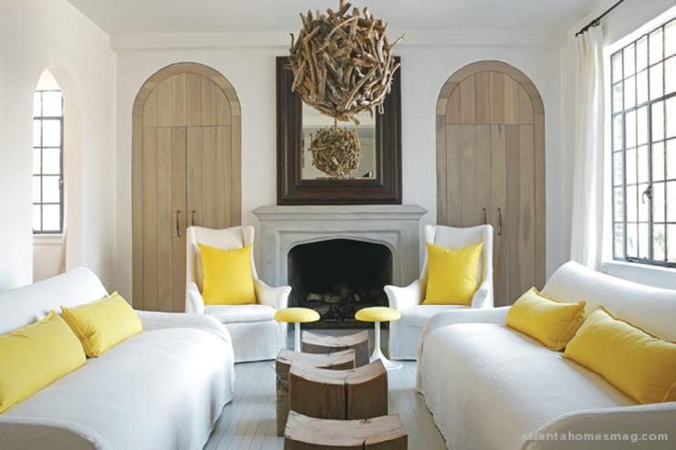 Suzie:  Kay Douglas  Atlanta Homes Mag  Beautiful white & yellow living room design with white ...