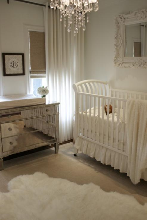 House of Wentworth - nurseries - Pratt and Lambert - Ancestral - Borghese Mirrored 3-Drawer Chest, West Elm Linen Cotton Grommet Window Panel - White, roman shades, crystal chandelier, mirrored chest, mirrored changing table, sleigh crib, baroque mirror, white baroque mirror, chest as changing table, chest used as changing table, mirrored chest as changing table, mirror over crib, mirror above crib,