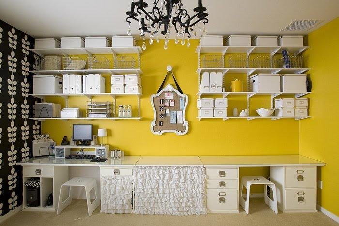4 Men 1 Lady - dens/libraries/offices - Blue Mountain Wallpaper, craft room ideas, yellow and black room, yellow walls, skirted table, white shelves, white shelving, shelving over desk, shelves over desk, skirted desk, ruffled skirted desk, ruffle skirted desk, yellow and black office,