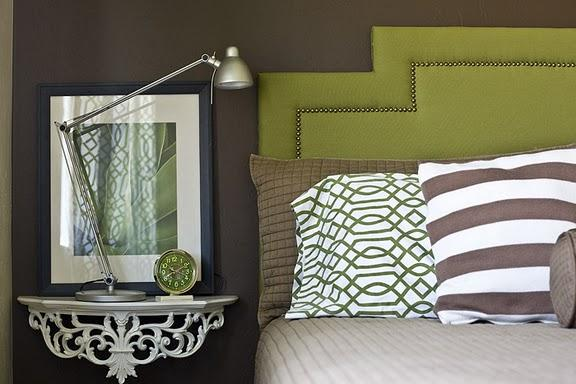 4 Men 1 Lady - bedrooms - Benjamin Moore - Clinton brown - wall mounted bedside table, wall mounted nightstand, green headboard, green nailhead headboard, studded headboard, green studded headboard, brown walls, chocolate brown walls, green and brown bedroom, trellis pillow covers,