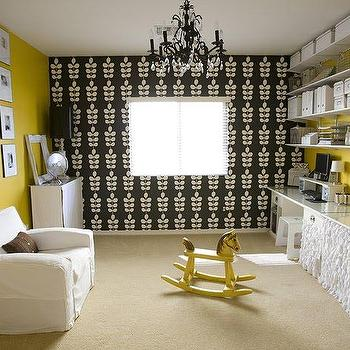 4 Men 1 Lady - dens/libraries/offices - craft room ideas, yellow and black room, yellow walls, black and white wallpaper, wallpaper accent wall, skirted table, white shelves, white shelving, shelving over desk, shelves over desk, skirted desk, ruffled skirted desk, ruffle skirted desk, yellow and black office, Blue Mountain Wallpaper,