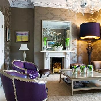 Purple Chairs, Eclectic, living room, Kevin Kelly Interiors