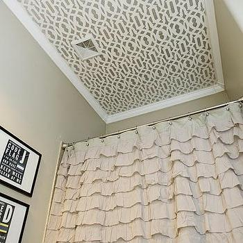4 Men 1 Lady - bathrooms - ruffle shower curtain, shower curtain, ruffled shower curtain, stenciled ceiling, stencil on bathroom ceiling, stenciled bathroom ceiling, trellis stencil, Cutting Edge Stencil Trellis Stencil, Urban Outfitters Waterfall Ruffle Shower Curtain,