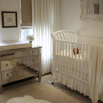 House of Wentworth - nurseries - roman shades, crystal chandelier, mirrored chest, mirrored changing table, sleigh crib, baroque mirror, white baroque mirror, chest as changing table, chest used as changing table, mirrored chest as changing table, mirror over crib, mirror above crib, Borghese Mirrored 3-Drawer Chest, West Elm Linen Cotton Grommet Window Panel - White,