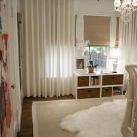 House of Wentworth - nurseries - gender neutral, nursery, white, drapes, bamboo, roman shades, sheepskin, rug, crystal, chandelier, West Elm Linen Cotton Grommet Window Panel - White,