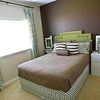 4 Men 1 Lady - bedrooms - green, headboard, nailhead trim, HomeGoods, Hillcrest, greem trellis, drapes, pillows, bed skirt, white, Ikea, nightstand, chocolate, brown, walls, brown walls, brown paint, brown paint color,