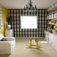 4 Men 1 Lady - dens/libraries/offices - yellow, walls, black, crystal, chandelier, white, slip-covered, chair, white, desks, white, skirted, ruffled, desks, white, storage, boxes, Blue Mountain Wallpaper,
