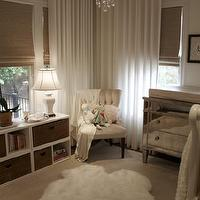 House of Wentworth - nurseries - mirrored, changing table, chest, woven, roman shades, ivory, tufted, chair, white, bookcase, woven, baskets, sheepskin, rug, orchid, mirrored changing table, mirrored chest, Borghese Mirrored 3-Drawer Chest, West Elm Linen Cotton Grommet Window Panel - White,