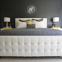 4 Men 1 Lady - bedrooms - gray, walls, Crate & Barrel, gray, bedding, Target, lamps, Crate & Barrel, yellow, lacquer, trays, DIY, sunburst, mirror, Z Gallerie East St. Bed,