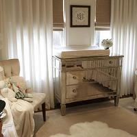 House of Wentworth - nurseries - mirrored, chest, changing table, white, crib, gender neutral, white, drapes, woven, roman shades, ivory, tufted, chair, orchid, white, lamp, sheepskin, rug, mirrored changing table, mirrored changing table, , Borghese Mirrored 3-Drawer Chest, West Elm Linen Cotton Grommet Window Panel - White,