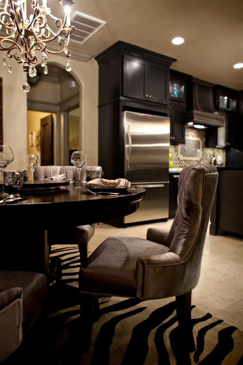 Black Kitchen Cabinets Contemporary Dining Room