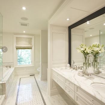 Meredith Heron Design - bathrooms - floating vanity, floating bathroom vanity, marble floating vanity, marble floating bathroom vanity, white marble countertop, black framed mirror,