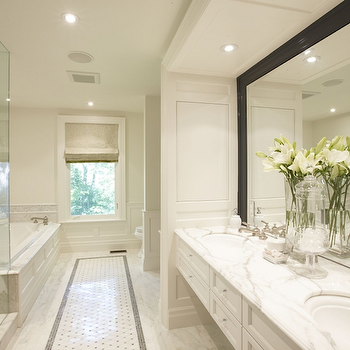 Meredith Heron Design - bathrooms - floating vanity, floating bathroom vanity, marble floating vanity, marble floating bathroom vanity, white marble countertop, black framed mirror, floating cabinets, floating bathroom cabinets, his and her sinks,