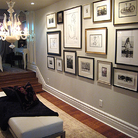 Meredith Heron Design - entrances/foyers - eclectic, art, photo, gallery, gray, walls, , chandelier, fainting sofa, throw, rug, photo walls, photo wall collage, photo wall ideas, family photo walls, art gallery, art walls,