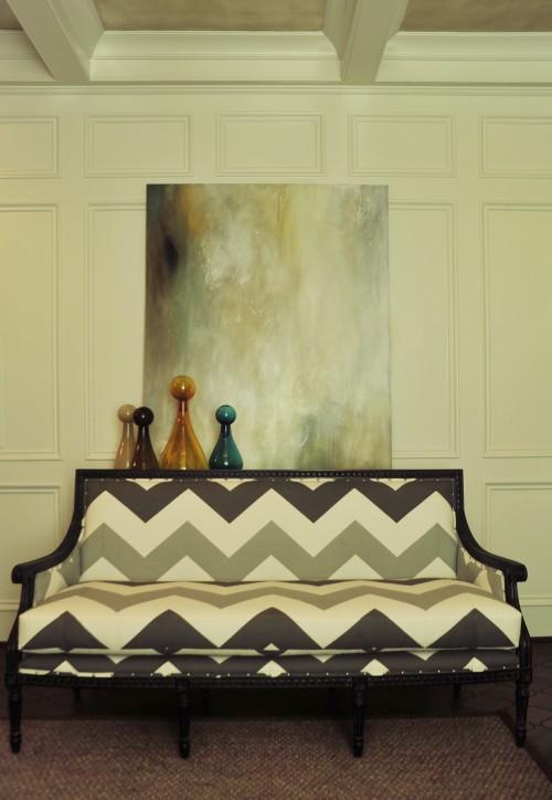 Chevron Sofa Contemporary Living Room Beckwith Interiors