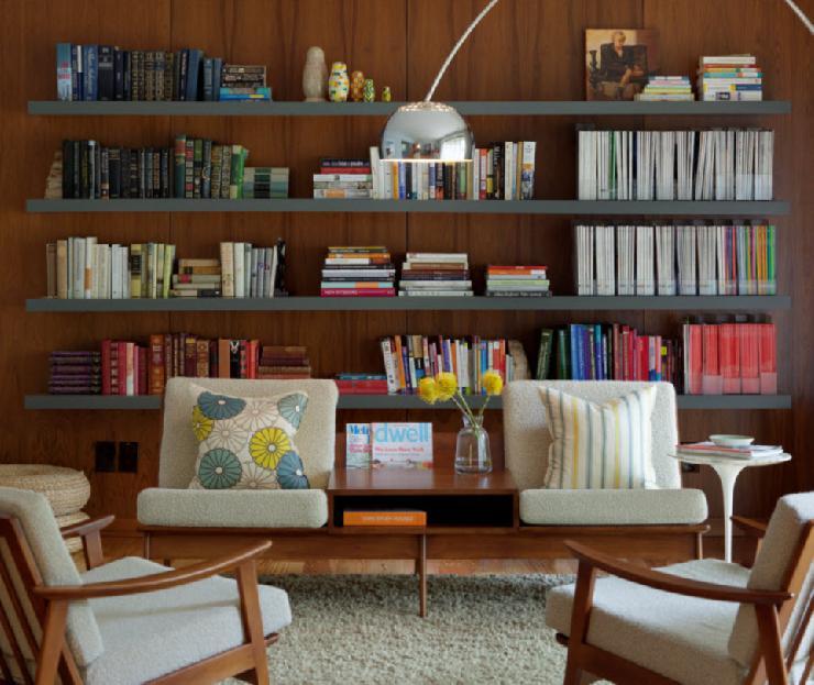 Floating bookshelves vintage living room rethink for Modern living room floating shelves