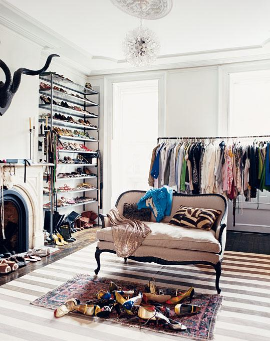 closets - white, gray, striped, rug, stone, fireplace, ivory, black, french, linen, settee, sofa, modern, chandelier, gray, walls, shoe racks, clothes rack,
