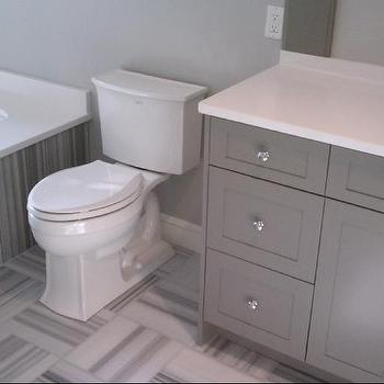 bathrooms - Toto toilet, Grohe Faucet, Grey bathroom, Grey marble, quilt pattern tile, striped marble, white and gray marble, white and gray striped marble, striped marble tiles,