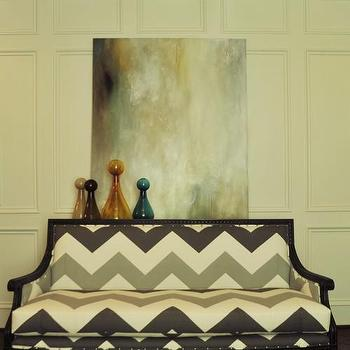 Beckwith Interiors - living rooms - chevron print sofa, chevron pattern sofa, chevron patterned sofa, full wall wainscoting, living room wainscoting, art above sofa,
