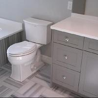 bathrooms - Toto toilet, Grohe Faucet, Grey bathroom, Grey marble, quilt pattern tile,  Gray Bathroom  Grey and White stripped marble. Grey Sherwin