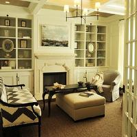 Beckwith Interiors - living rooms - coffered, ceiling, gray, chairs, black, coffee table, cabriolet legs, stone, fireplace, gray, ivory, chevron, herringbone, chevron, pattern, modern, sofa, settee, built-ins, Bryant Chandelier,