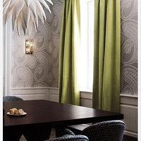 Kate Hume - dining rooms - green curtains, green drapes, green window panels, paisley wallpaper, gray paisley wallpaper, dining room wainscoting, wainscoting in dining room,