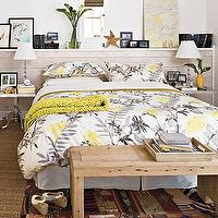 Southern Living - bedrooms - bedroom, large headboard, grey, yellow, white, architectural interest, yellow and gray bedroom, gray and yellow bedroom, gray and yellow bedrooms, yellow and gray bedroom design, gray and yellow, yellow and gray,