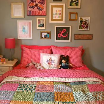 girl's rooms - Benjamin Moore conventry gray, girls bedroom, patchwork quilt,  Girls bedroom  gray walls and pink bedding, chandelier and collage