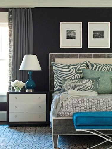 Suzie: Brian Watford ID  Gorgeous blue & gray bedroom design with navy blue walls paint color, ...