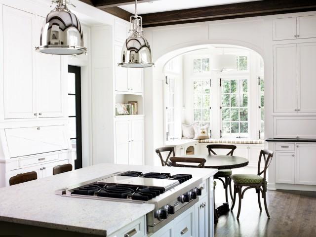 Cooktop on kitchen island transitional kitchen for Alabaster white kitchen cabinets