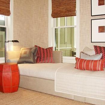 Brian Watford Interiors - dens/libraries/offices - beige grasscloth, beige grasscloth wallpaper, red accents,  Beautiful den office design with