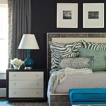 Brian Watford Interiors - bedrooms - peacock blue ottoman, velvet ottoman, peacock blue velvet ottoman, peacock blue bench, peacock blue velvet bench, velvet peacock blue bench, peacock blue lamp, two tone nightstands, zebra pillows,