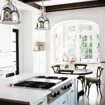 Brian Watford Interiors - kitchens - eat in kitchen, eat in kitchen ideas, island cooktop, cooktop on island, cooktop on kitchen island, industrial pendants, , Restoration Hardware Benson Pendant, Restoration Hardware Madeline Chair,
