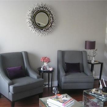 Layers of Meaning - living rooms - black and white porcupine mirror, porcupine mirror, porcupine quills mirror, quills mirror, accent tables, black accent tables, swoop arm chairs, gray swoop arm chairs, purple pillow, velvet pillow, purple velvet pillow, Janice Minor Porcupine Quill Mirror,