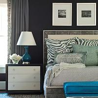 Brian Watford Interiors - bedrooms - turquoise, blue, X-bench, gray, bed, gray, drapes, gray, zebra, pillows, cobalt, blue, lamp, navy blue, walls, modern, two-tone, nightstand, turquoise ottoman, velvet ottoman, turquoise velvet ottoman,