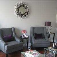 Layers of Meaning - living rooms - gray, curvy, chairs, purple, velvet, pillows, mirrored, square, accent tables, gray, walls, black and white porcupine mirror, porcupine mirror, porcupine quills mirror, quills mirror, Janice Minor Porcupine Quill Mirror,
