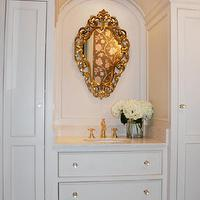 CJB Designs - bathrooms - Caryn Bortniker, cjbdesignsllc.com, gold mirror, ornate mirror, gold ornate mirror,  Custom cabinetry to hide beams
