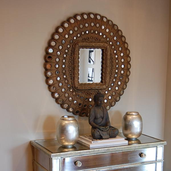 living rooms - Benjamin Moore - Grant Beige - Pier 1 Imports honeycomb mirror Borghese mirrored chest West Elm silver leaf canisters Bombay Company Buddha