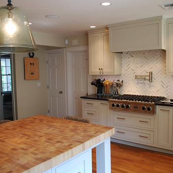 Herringbone Backsplash, Cottage, kitchen, Venegas and Company
