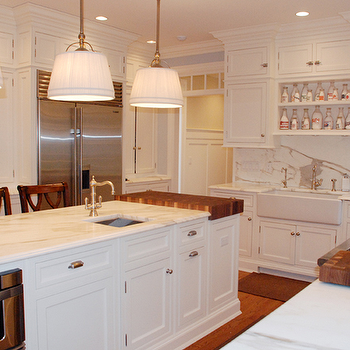 CJB Designs - kitchens - farmhouse sink, calcutta gold marble, calcutta gold marble backsplash, calcutta gold marble countertops, white kitchen, shaker cabinets, white kitchen cabinets, Sandy Chapman Single Sloan St. Shop Light with Linen Shade,