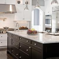 Venegas and Company - kitchens - gray, walls, white, shaker, kitchen cabinets, black, granite, counter tops, ebony, kitchen island, white, carrara, marble, countertops, beveled, subway tiles, backsplash, pot filler, , Yoke Pendant with Small Shade,