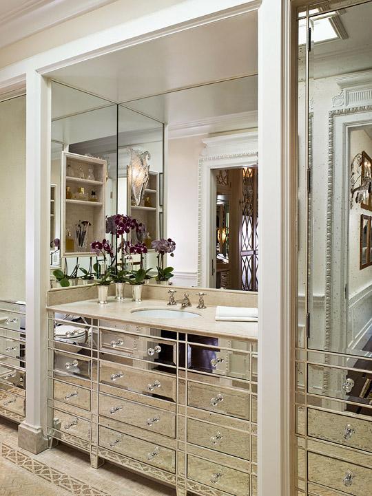 mirrored bathroom vanity transitional bathroom traditional home