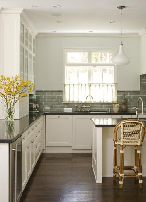 Studio William Hefner - kitchens - green subway tiles, green subway tile backsplash, green subway backsplash, green subway tile kitchen, green subway kitchen backsplash, white cabinets, white shaker cabinets, shaker kitchen cabinets, black countertops, french cafe bar stools,