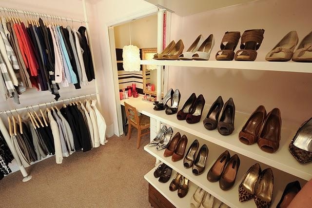 Domestic Jenny - closets - Behr - Frolic - shoes, closet, dressing room, ikea, pink, stolmen, white,  dressing room